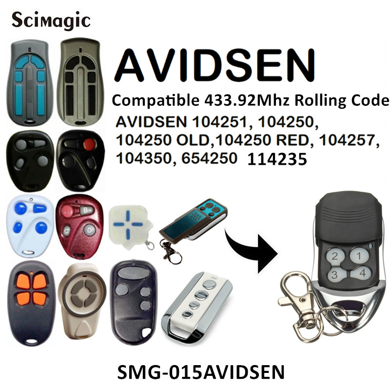 AVIDSEN 114253 104250 104251 Remote 433mhz Rolling Code AVIDSEN 104250 OLD RED 104257 104350 654250 114235 Command Transmitter