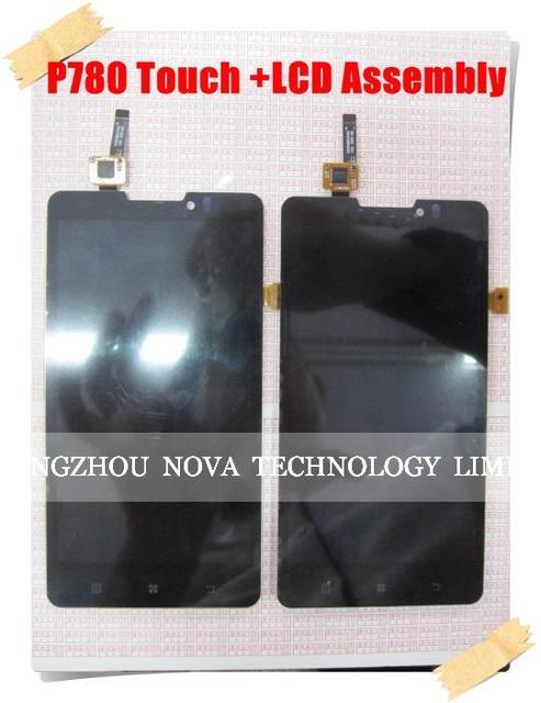 100% substituição display lcd original assembléia touch screen digitador para lenovo p780 preto + rastreamento