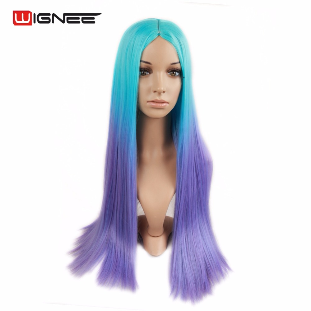 Wignee Ombre Color Blue To Purple Cosplay Wig For Black