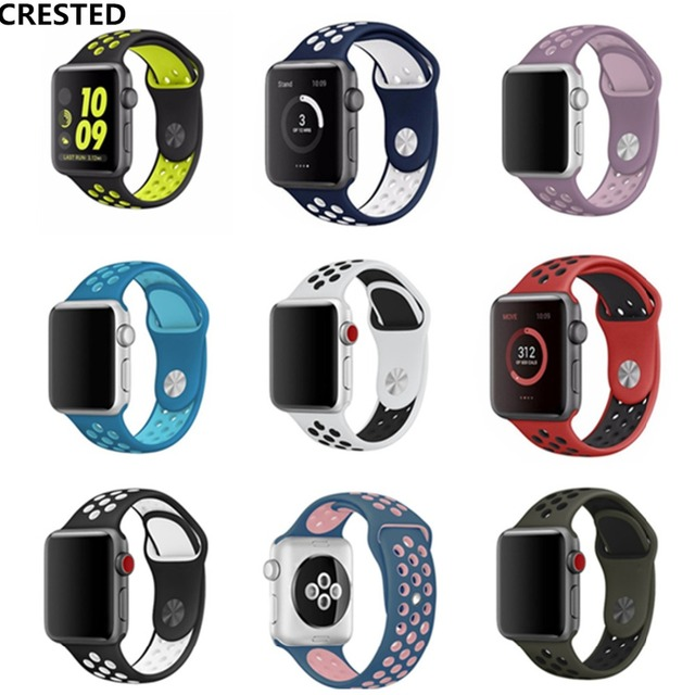 d5692fafe CRESTED Sport Silicone strap For Apple Watch band 42mm 38mm iwatch Series 3  2 1 Wrist bands Rubber bracelet belt With Adapter