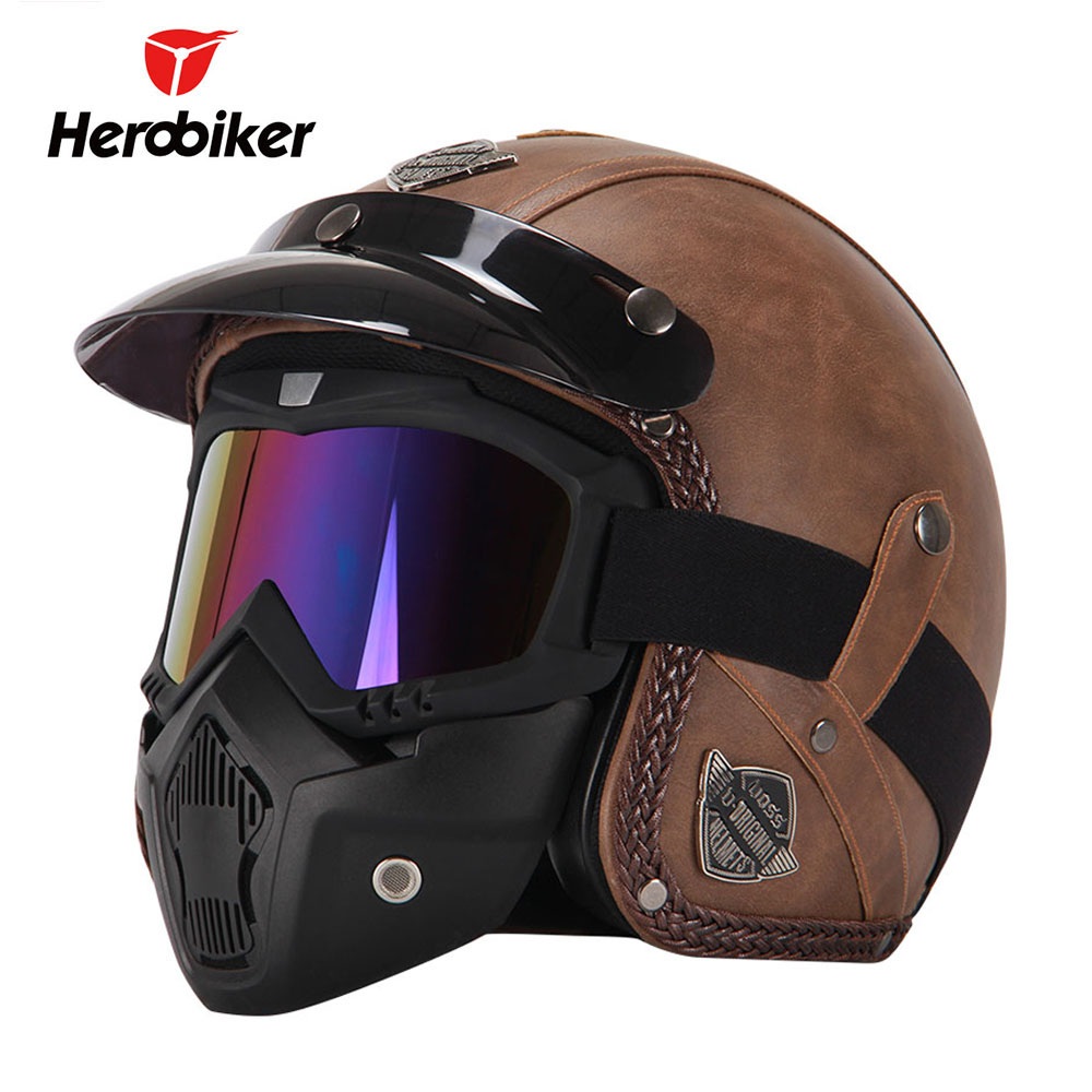 New Retro Vintage German Style Motorcycle Helmet 3/4 Open Face Helmet Scooter Chopper Cruiser Biker Moto Helmet Glasses Mask ...