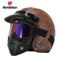 New Retro Vintage German Style Motorcycle Helmet 3 4 Open Face Helmet Scooter Chopper Cruiser Biker