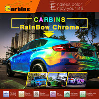 Carbins blue rainbow color chrome mirror vinyl film car wrapping full body customized
