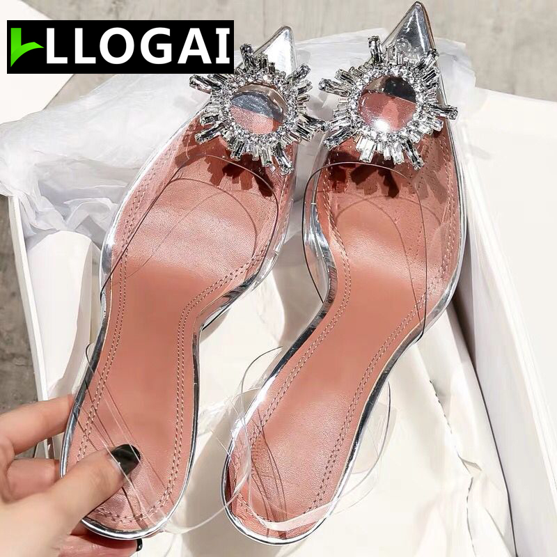 Summer Women Pumps Sexy Transparent Rhinestone Pointed High Heel Shoes Woman Casual Shoes Ladies Stiletto Party Wedding Shoes