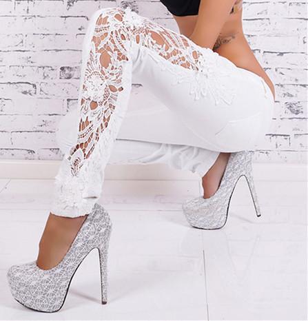 2016 nueva llegada encuadre de cuerpo entero delgado sólido encaje blanco Skinny Jeans Denim Vintage Women encaje Jeans