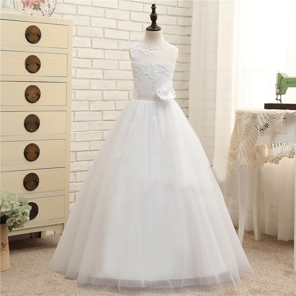 Beauty White Jewel Applique Flower Girl Dresses Princess Dresses ...