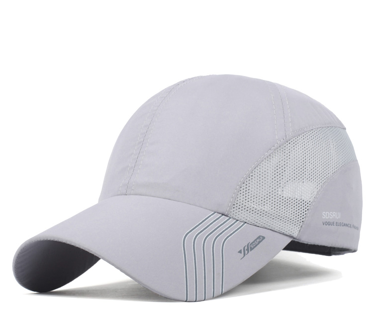 Striped Brim Sporty Baseball Cap - Grey Cap Front Angle View