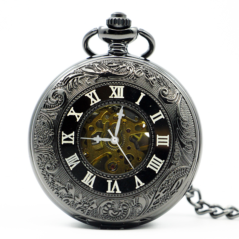 High Selling Roman Numberals Style Automatic Skeleton Mechanical Pocket Watch Mens Womens Hand-winding With Fob Watches PJX1215