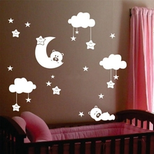 Cute Large Size Moon and Clouds Wall Decals, Stars With Clouds and Bears Vinyl Wall Sticker For Baby/Kids Room Decor,5K2056
