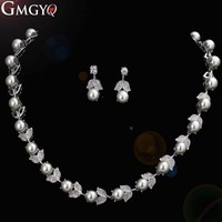 GMGYQ Luxury Silver Color Pearl Necklace Bride Wedding Dress Collocation Jewelry Gifts For Women
