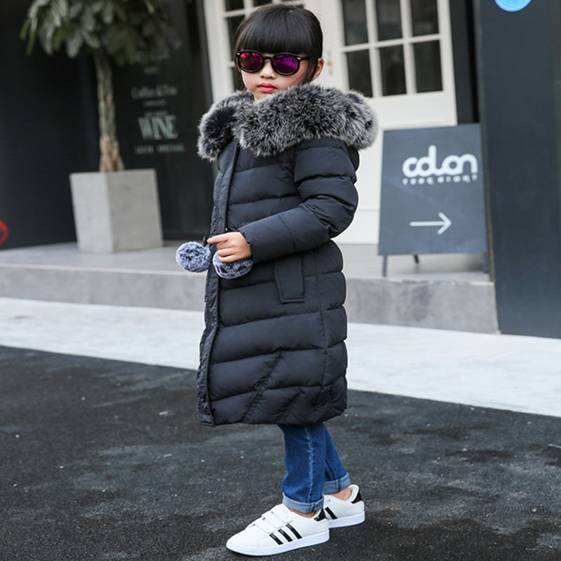 Children Down Jackets For Russia Winter Girls Long Section Thickening Thermal Outerwear & Coats Girl Fur Collar Clothes Parkas fashion girls winter coat long down jacket for girl long parkas 6 7 8 9 10 12 13 14 children zipper outerwear winter jackets