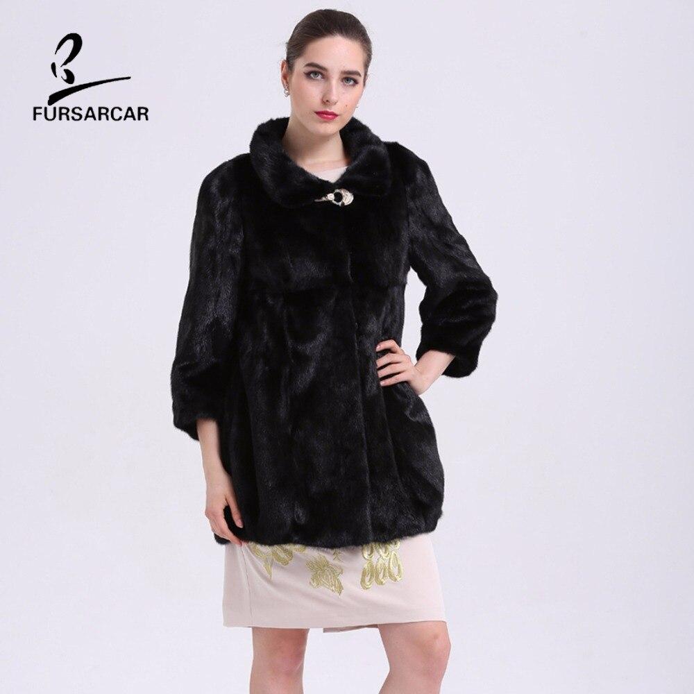 FURSARCAR Mewah Nyata Mink Fur Coats Berdiri Collar Hitam Natural Fur - Pakaian Wanita - Foto 2