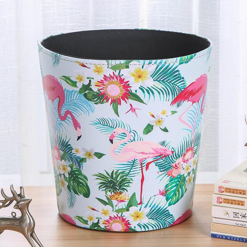 Waterproof Leather Trash Can Household Storage Bucket Basket cartoon style Mini desk organizer living room garbage bin in Waste Bins from Home Garden