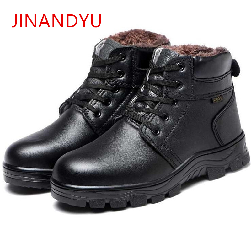 Mens Winter Safety Boots Steel Toe Shoes Work Boots Fashion Warm Cow Leather Boots Men Cold-proof Tooling Safety Shoes Size36-46