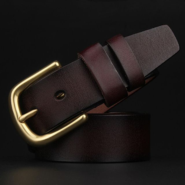 Brass Big Pin Buckle Men Wide Belts Genuine Leather Casual Mens High Quality Brown Gold Belt Luxury Brand Mans Strap 2017