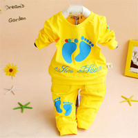 Hot sell children clothes unisex boys girls soft cotton 2 pcs suit spring autumn fashion set baby kids clothing
