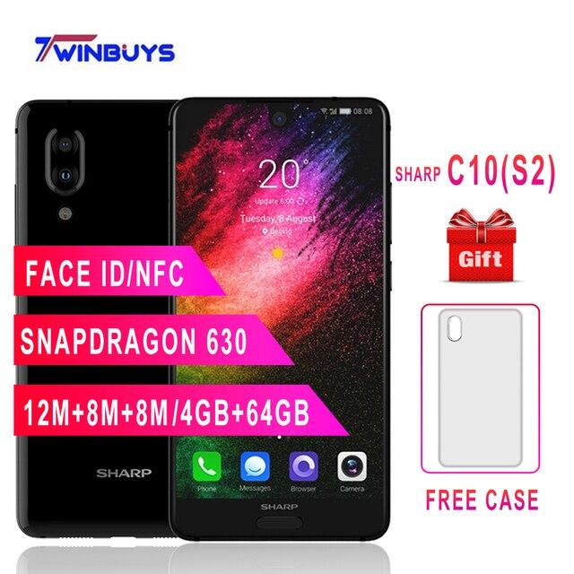 "SHARP AQUOS C10 S2 teléfonos móviles Android 8,0 4 GB + 64 GB 5,5 ""FHD + Snapdragon 630 Octa core Face ID NFC 12MP 2700 mAh SmartPhone 4G"