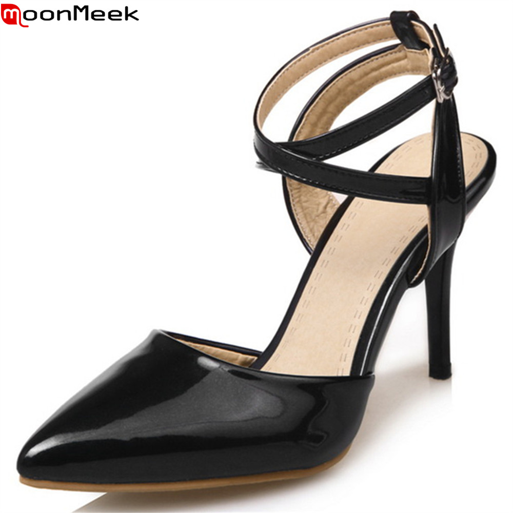 MoonMeek black sliver fashion new women pumps thin heel elegant prom shoes pointed toe buckle high heels shoes plus size 33-48 memunia flock pointed toe ladies summer high heels shoes fashion buckle color mixing women pumps elegant lady prom shoes