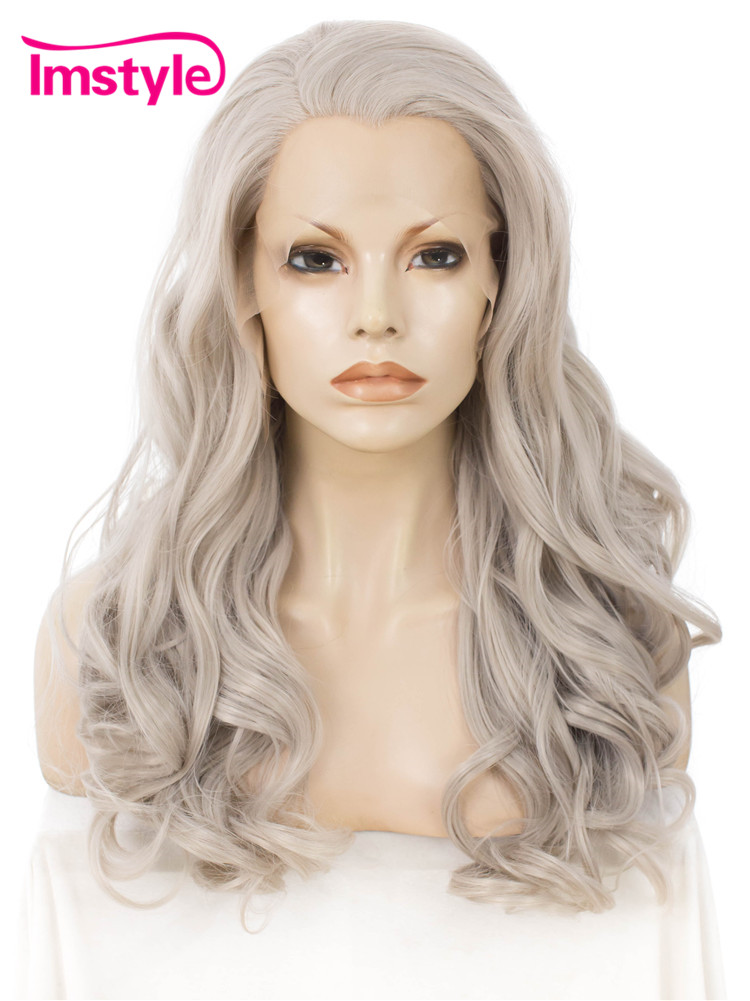 Imstyle Wavy Gray Long Grey Wig Synthetic Lace Front Wigs For Women Heat Resistant Fiber ...