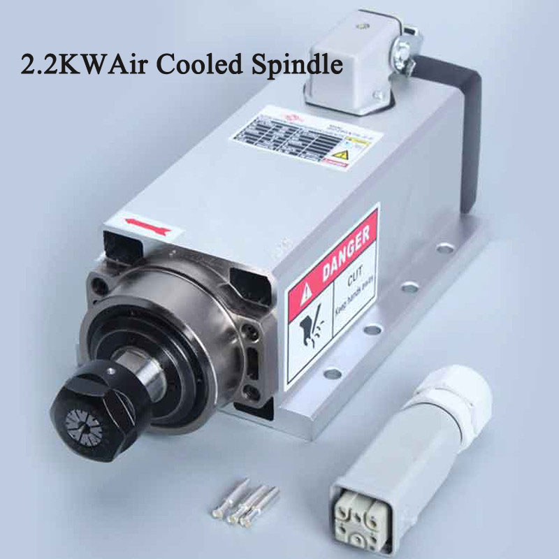 Free Shipping 2.2KW Air-cooled Square Spindle Motor 220V 24000rpm ER20 Air Cool Spindle CNC Milling Engraving Machine Spindle