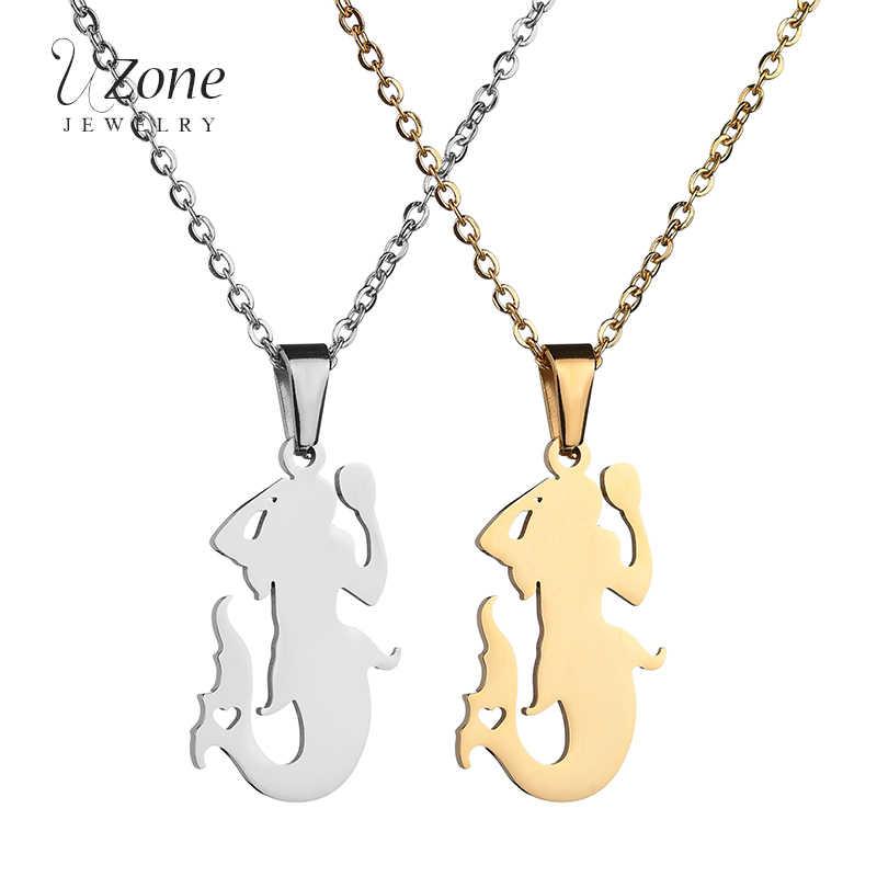 UZoneการ์ตูนเมอร์เมดจี้สร้อยคอเครื่องประดับสัตว์สีทองสแตนเลสสร้อยคอสำหรับผู้หญิง
