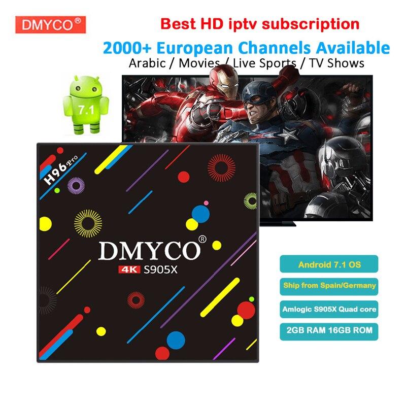 цена на 1800+ Channels 1 Year IPTV Subscription Spain French Arabic Europe H96 Pro S905X Android 7.1 2GB/16GB IPTV Box 4K media player