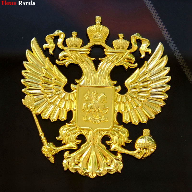 Three Ratels 3D-01# 90*80*5mm Zinc alloy 3D metal golden car sticker Russian coat of arms three ratels mt 088 90 80 5mm zinc alloy 3d metal car sticker double headed eagle russian coat of arms russian national emblem