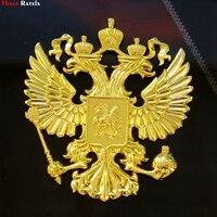 Three Ratels 3D 01 90 80 5mm Zinc Alloy 3D Metal Golden Car Sticker Russian Coat