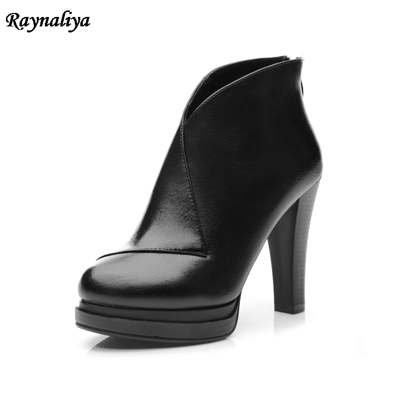Popular High Heel Boots Female Platform Shoes Woman Fashion Sheepskin Ankle Boots For Women Autumn Big Size 34-40 LSN-A0041 bottes femmes 2017 autumn fashion martin boots leather shoes woman platform square medium heel ankle boots for women plus size