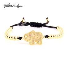 WML Trendy Men bead Bracelet Micro Pave CZ Elephant Charm copper Braided bracelets & bangles for women Jewelry