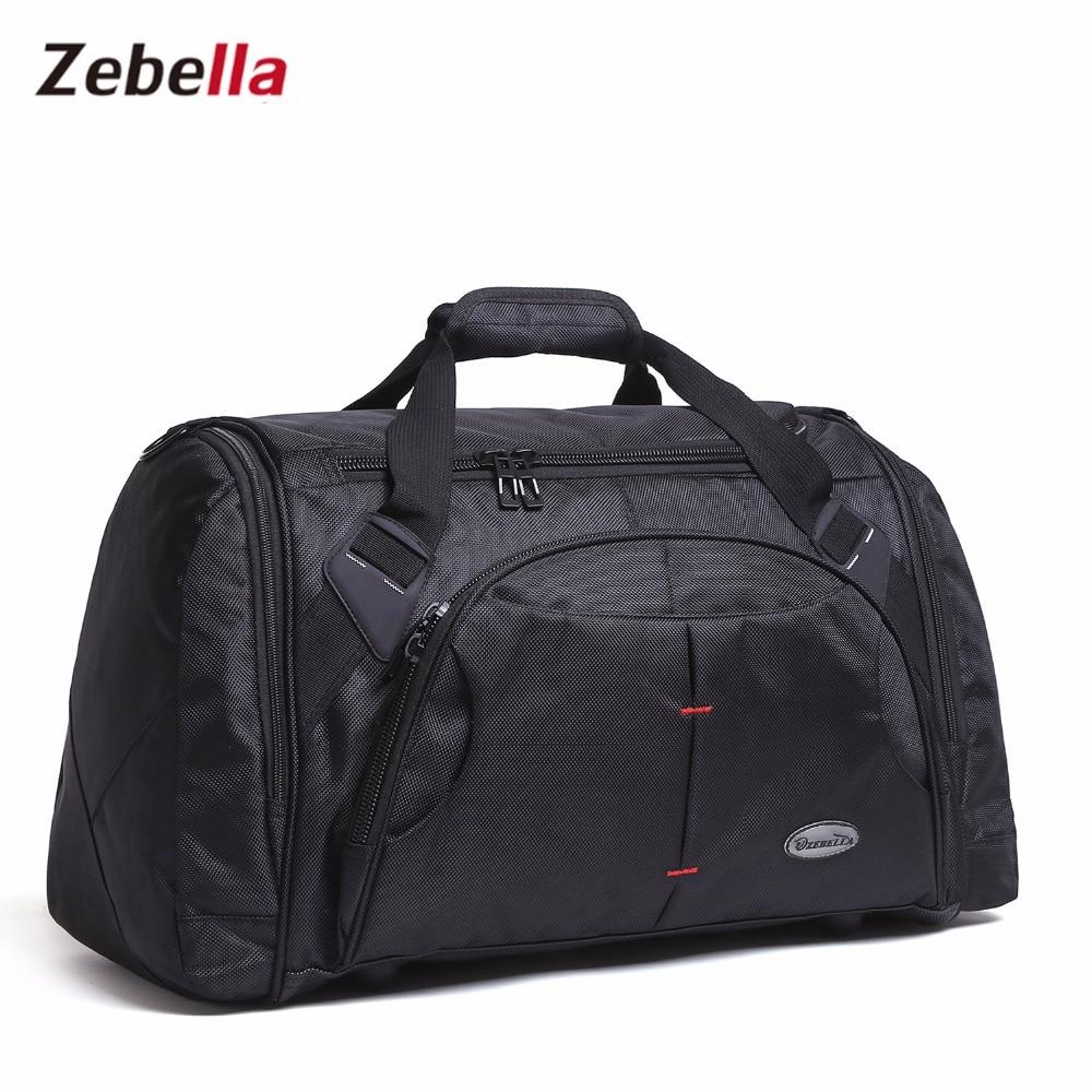 Zebella 2017 مردان بزرگ ظرفیت سیاه و سفید سفر کیسه قابل حمل گاه به گاه چمدان پلی استر دافل سفر آخر هفته کیف دستی حمل و نقل کیف دستی