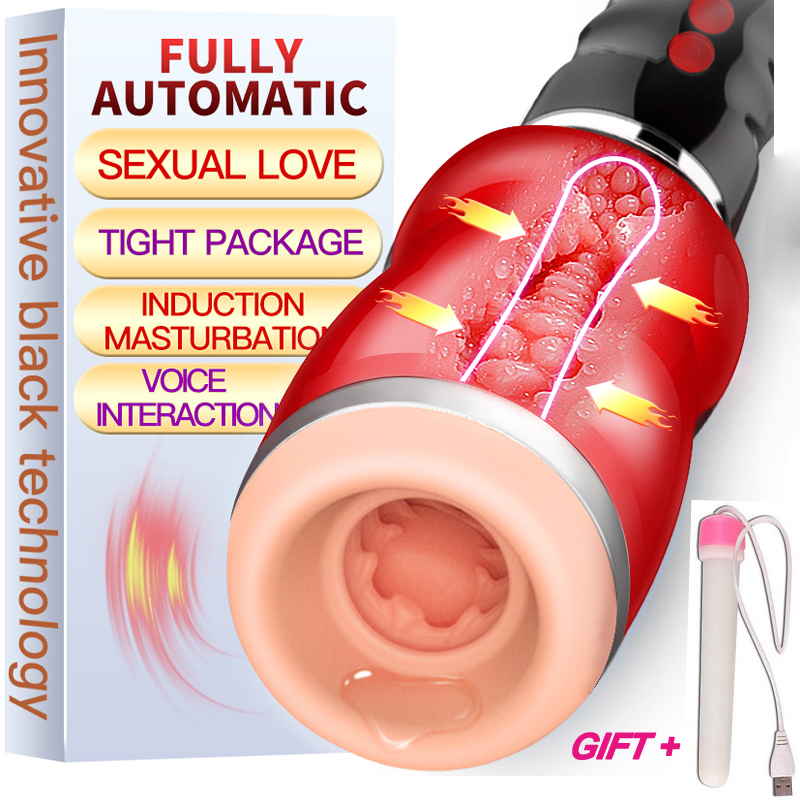 Automatic Oral Sex Mouth Suction Male Masturbator For Man Silicone Vagina Real Pussy Moan Vibrator Erotic Sex toys