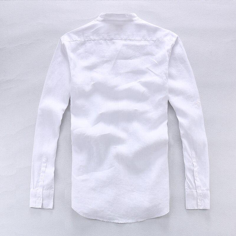 100% Lino Camisas azules de gama alta simples Hombres Lino de manga - Ropa de hombre - foto 6