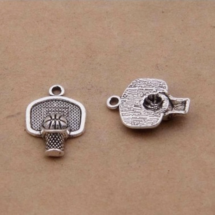 45pcs Charms Basketball hoop Pendants 15x20mm 1.3g Antique silver Handmade Jewelry Making DIY Europe alloy accessories