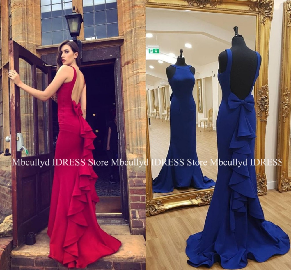 Glamourous Backless Mermaid   Prom     Dress   With Bow 2019 Sexy Halter Neck Red Blue   Dresses   Evening Long Formal Vestidos de fiesta