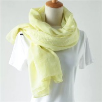 Womens Spring Autumn Bright Yellow Scarf Shawls And Wraps Oversize Cotton Head Scarf Big Long Indian