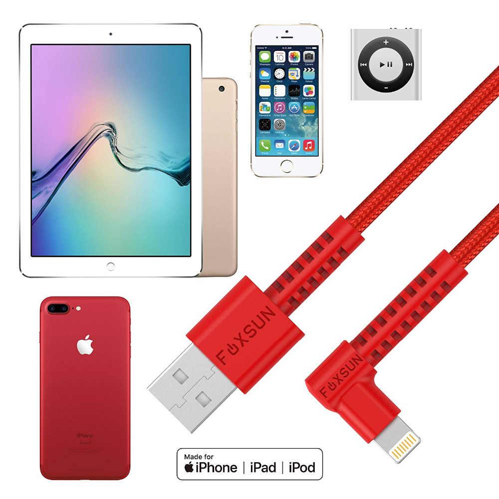 MFI 90 Gradi Per il iphone Fulmine Cavo Dati USB Ad Angolo Retto di Nylon Intrecciato Cavo di Carica Veloce per il iphone di Apple X, 8,7, 6,5, ipad, ios
