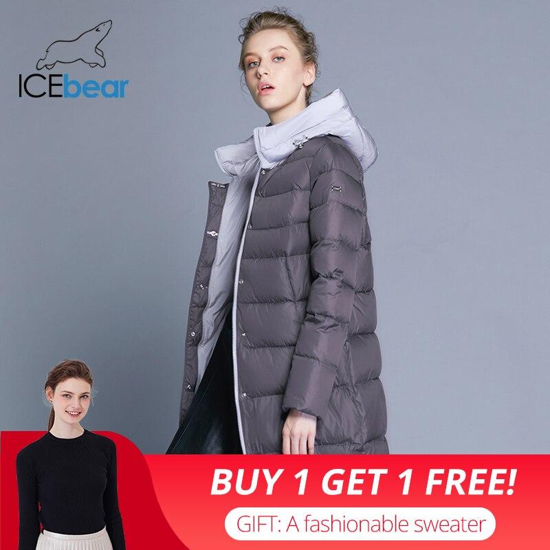 ICEbear 2018 nouveau à capuche femme manteau d'hiver mince veste haute qualité marque vêtements conception coupe-vent chaud parkas GWD18192I