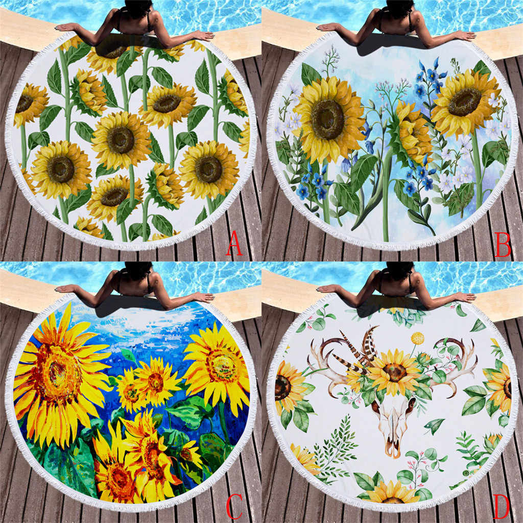 Wszyscy miłość plaża lato słonecznika ręcznik plażowy z nadrukiem poliester plaża Pad ręcznik koło mata do jogi duże okrągłe gobelin