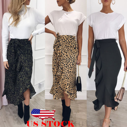Hot Sale 2019 New Slim Fashion Casual Women Leopard Print Boho Wrap Over Aysmmetric Loose Skirt Summer High Waist Midi Skirts
