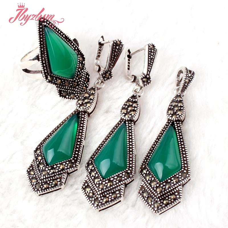 9x11mm Green Stone Beads Marcasite Tibetan Silver Classical For Women Pendant 15x46mm/Earrings 15x50mm/Ring #6-#8 Free Shipping