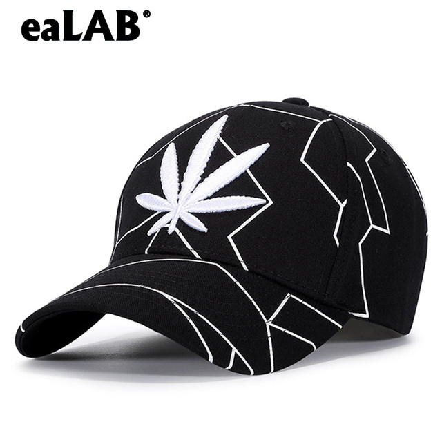 New Fashion Baseball Cap Men s And Women s Leisure Sports Visor Cap 3D  Linellae Hemp Leaf Embroidery f1a112755c33