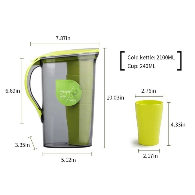 BPA free Pitcher Plastic Cold Water Container Kettle Water Jug Sets ...