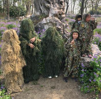 Children Kids Hunting clothes 3D maple leaf Bionic Ghillie Suits Yowie sniper Camouflage Suit birdwatch airsoft Camouflage Set 2