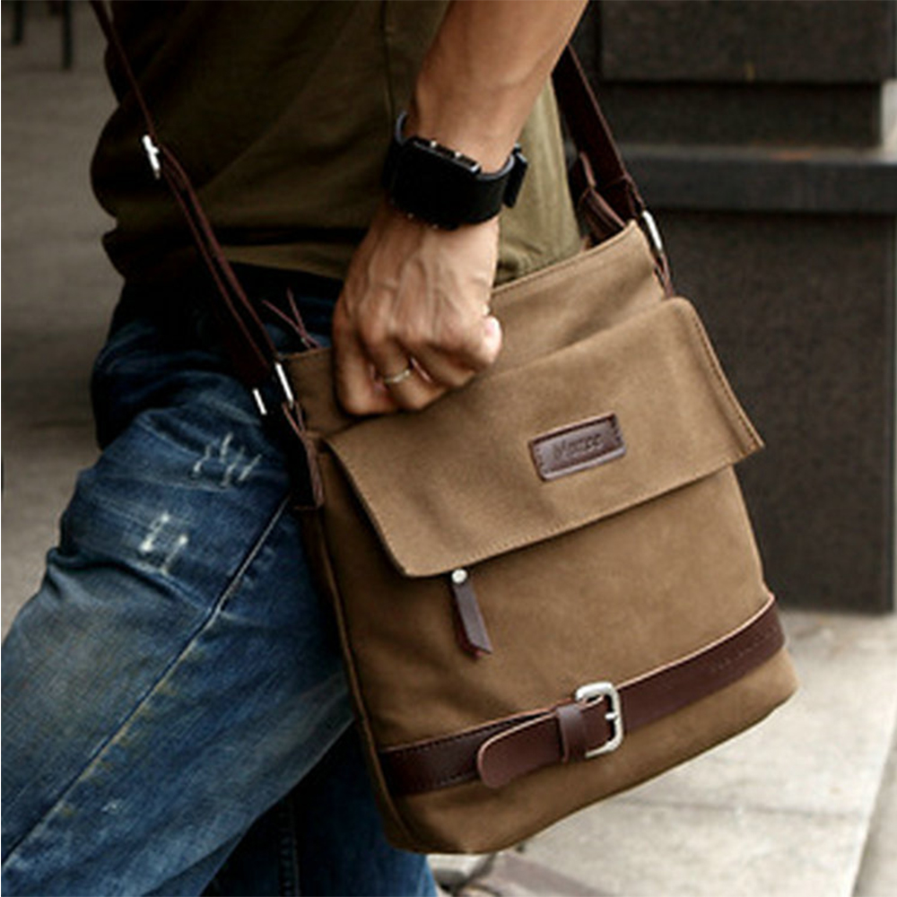 Men Vintage Canvas Messenger Bag Crazy Horse Leather Soft Man Travel Bags Retro School Bag Hasp Cover Military Style Handbag  цена и фото