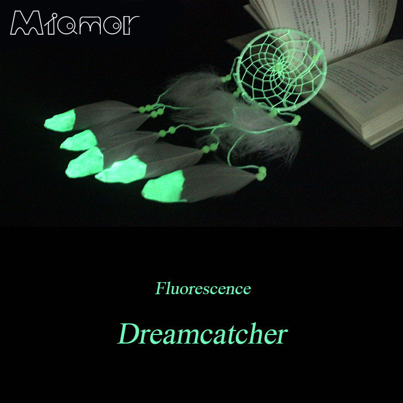 MIAMOR Indian Fluoresensi Dreamcatcher Noctilucous Lonceng Angin & Rumah Hiasan Dinding Pendant Ornament Dream Catcher Hadiah Amor079