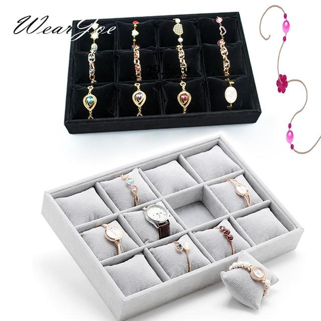 High Quality Soft Velvet Watch Jewelry Display Storage Tray 12