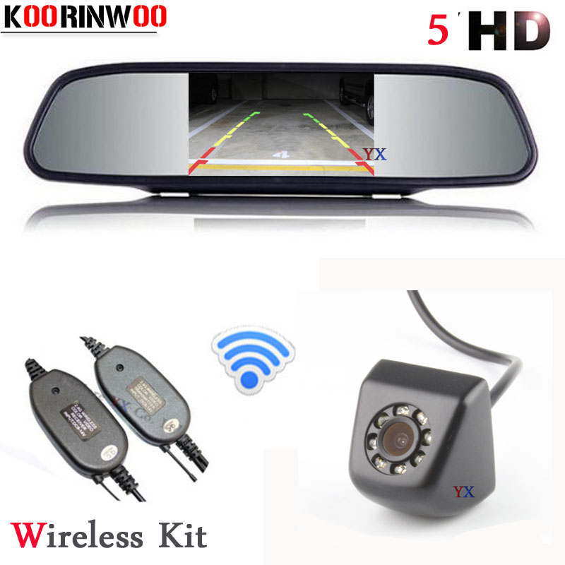 Koorinwoo Universal 5 inch Mirror Monitor + wireless Car Rear view Camera Back 8 LED Reverse Cam Parking For AUDI/BWN/Toyota/VW