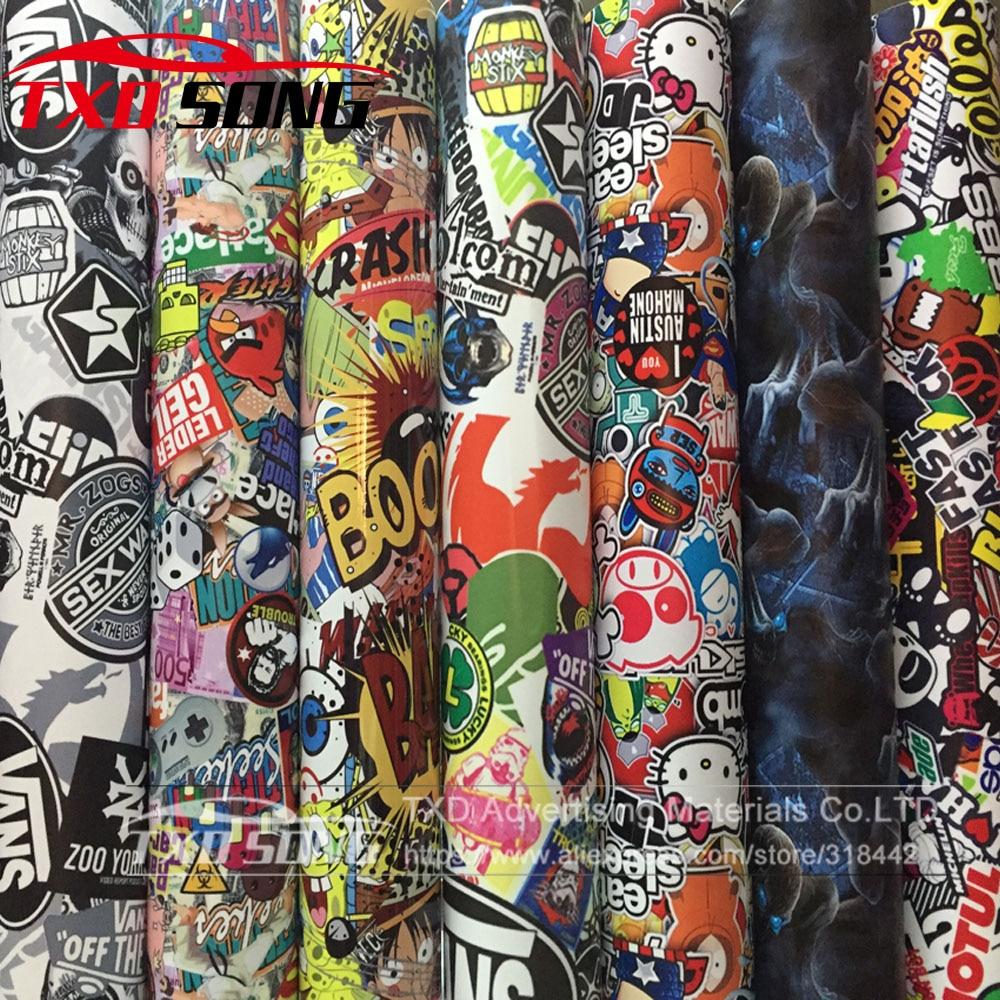 Image 2 - 10/20/30/40/50/60X152CM/LOT CARTOON GRAFFITI CAR STICKER BOMB WRAP SHEET DECAL VINYL DIY CAR BOMB VINYL FILM BY FREE SHIPPING-in Car Stickers from Automobiles & Motorcycles