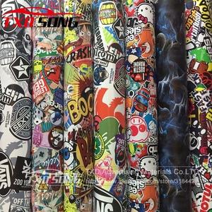 Image 2 - 10/20/30/40/50/60X152CM/LOT CARTOON GRAFFITI CAR STICKER BOMB WRAP SHEET DECAL VINYL DIY CAR BOMB VINYL FILM BY FREE SHIPPING